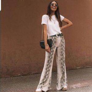 Zara Grey/White Snakeskin Trousers